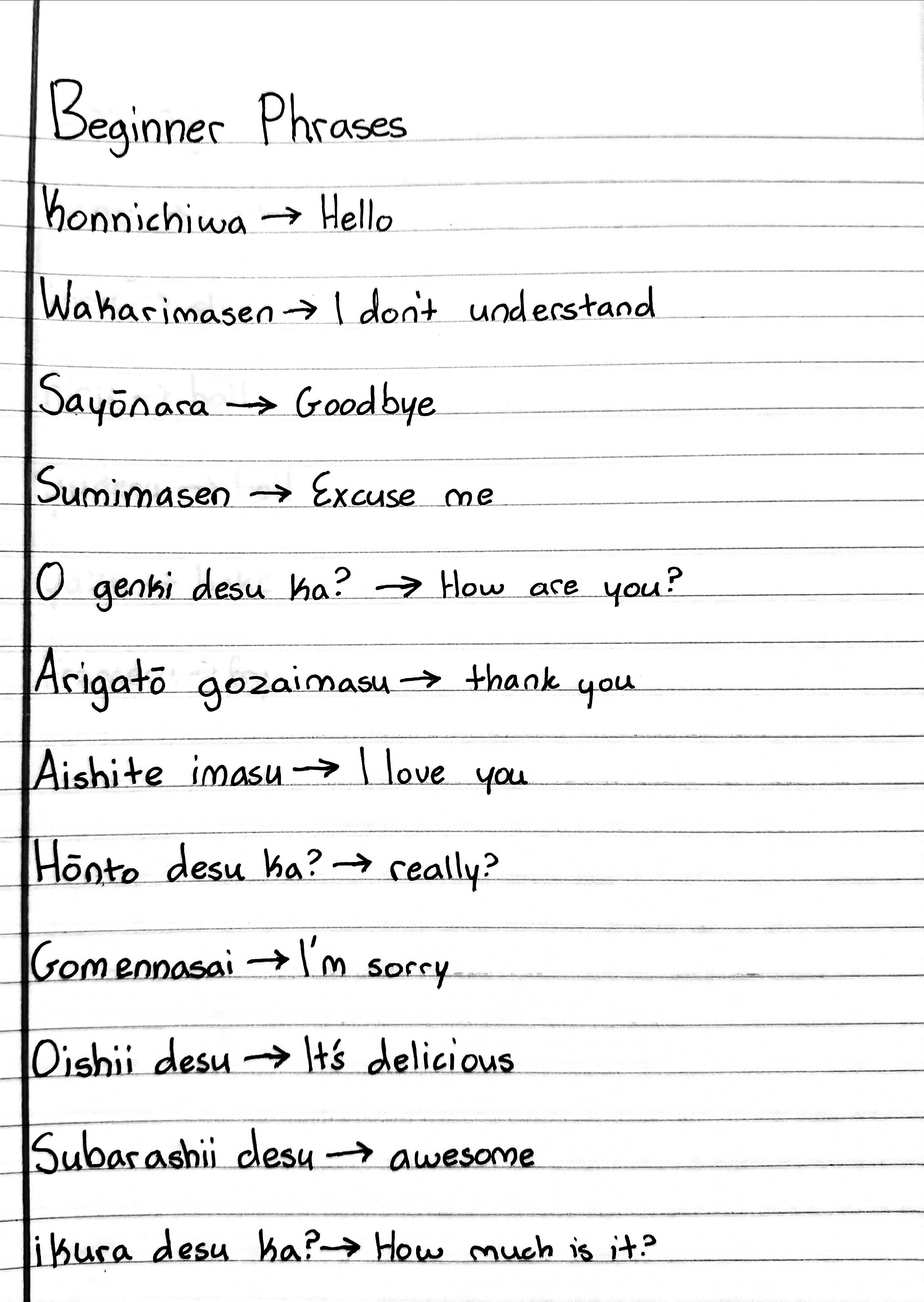 Beginner Phrases