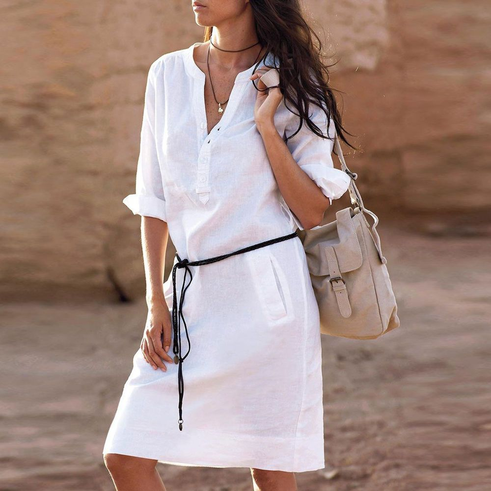 Women V Neck Pocket Casual Shirt Dress Cotton Linen Blouse