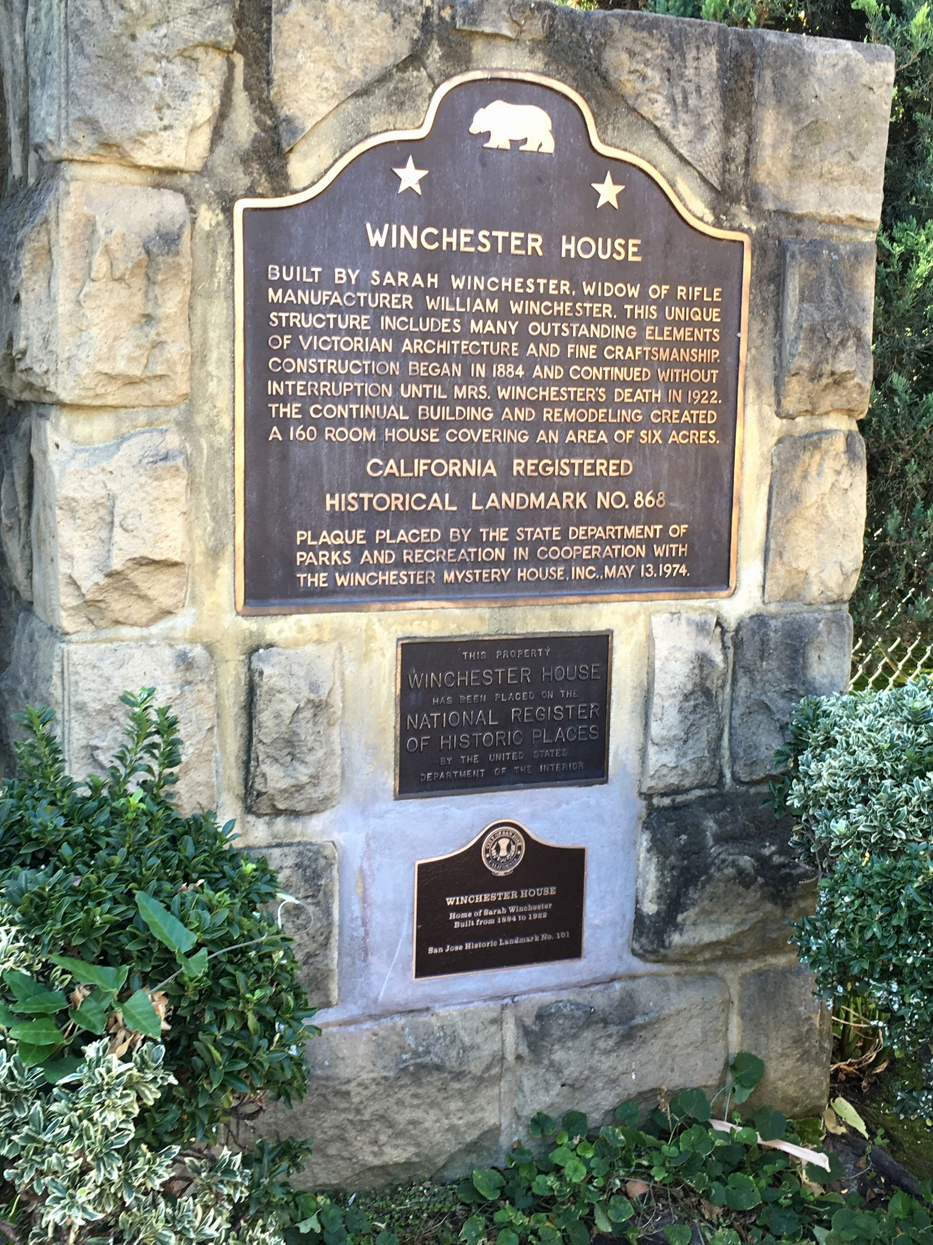 plaque at the winchester house winchester house history film