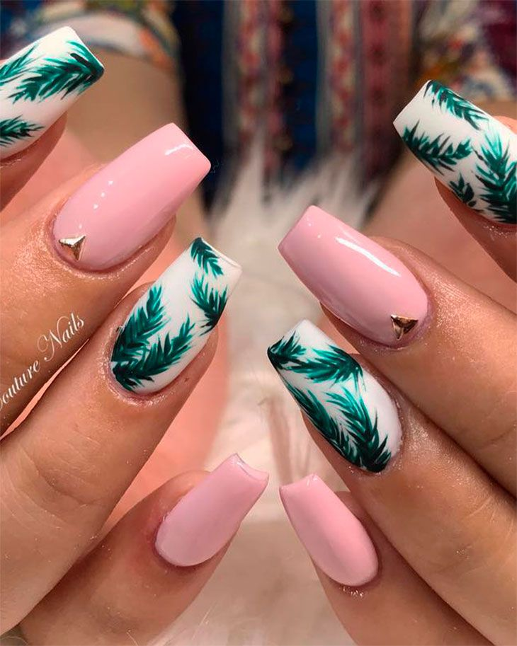 Outstanding Palm Leaf Nails Coffin Shaped With Pink Nails Summernails Summernailart Summe Cute Summer Nail Designs Summer Acrylic Nails Coffin Nails Designs