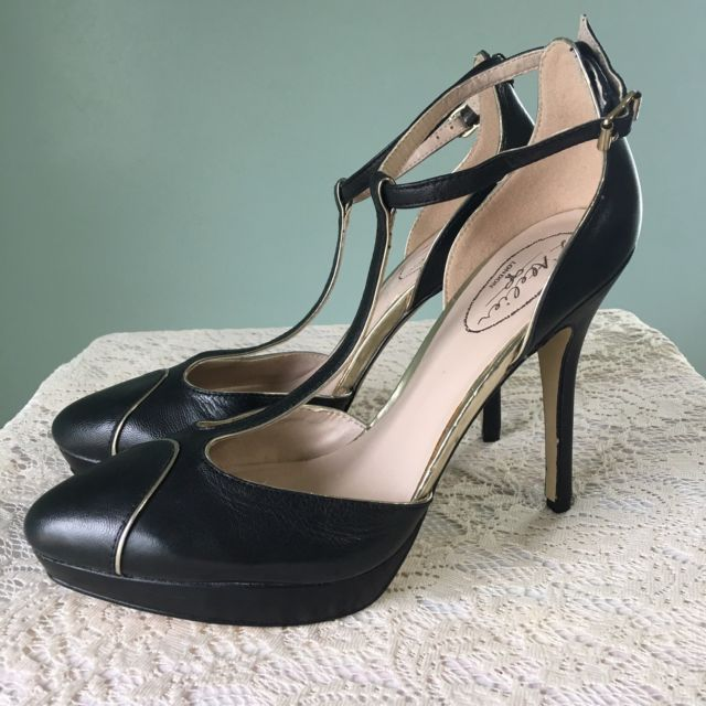 L Atelier London Black Gold Platform Stiletto Size 9 Mary Jane ...