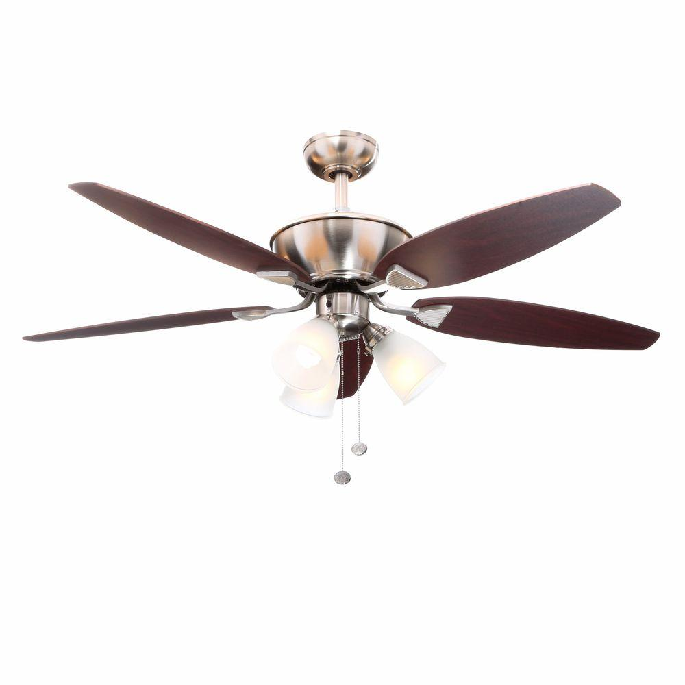 Hampton Bay Carrolton 52 In Indoor Brushed Nickel Ceiling Fan With Light Kit Yg288a Bn The Home Depot Brushed Nickel Ceiling Fan Ceiling Fan With Light Ceiling Fan