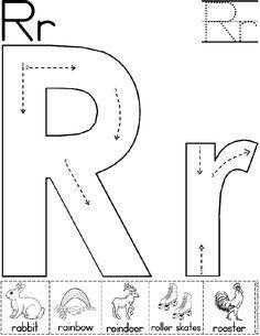 alphabet letter r worksheet standard block font preschool printable activity
