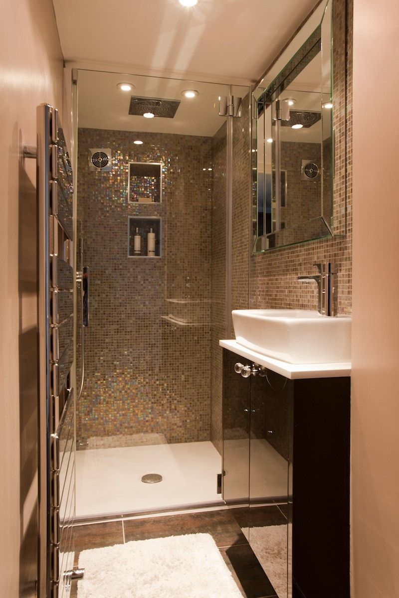 Tiny shower room. Glass mosaic walls. Bit too much 'bling ... on Nice Bathroom Designs For Small Spaces  id=45312
