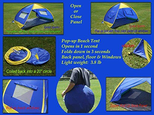 Genji Sports Instant Outdoor and Beach Tent Blue/Yellow Trims One Size  sc 1 st  Pinterest & Genji Sports Instant Outdoor and Beach Tent Blue/Yellow Trims ...