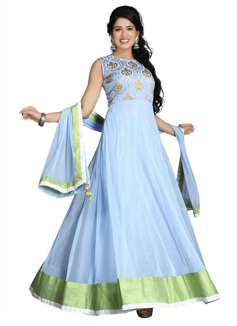 Fabulous Sky Blue Coloured Net Embroidery Indian Designer Gown At ...