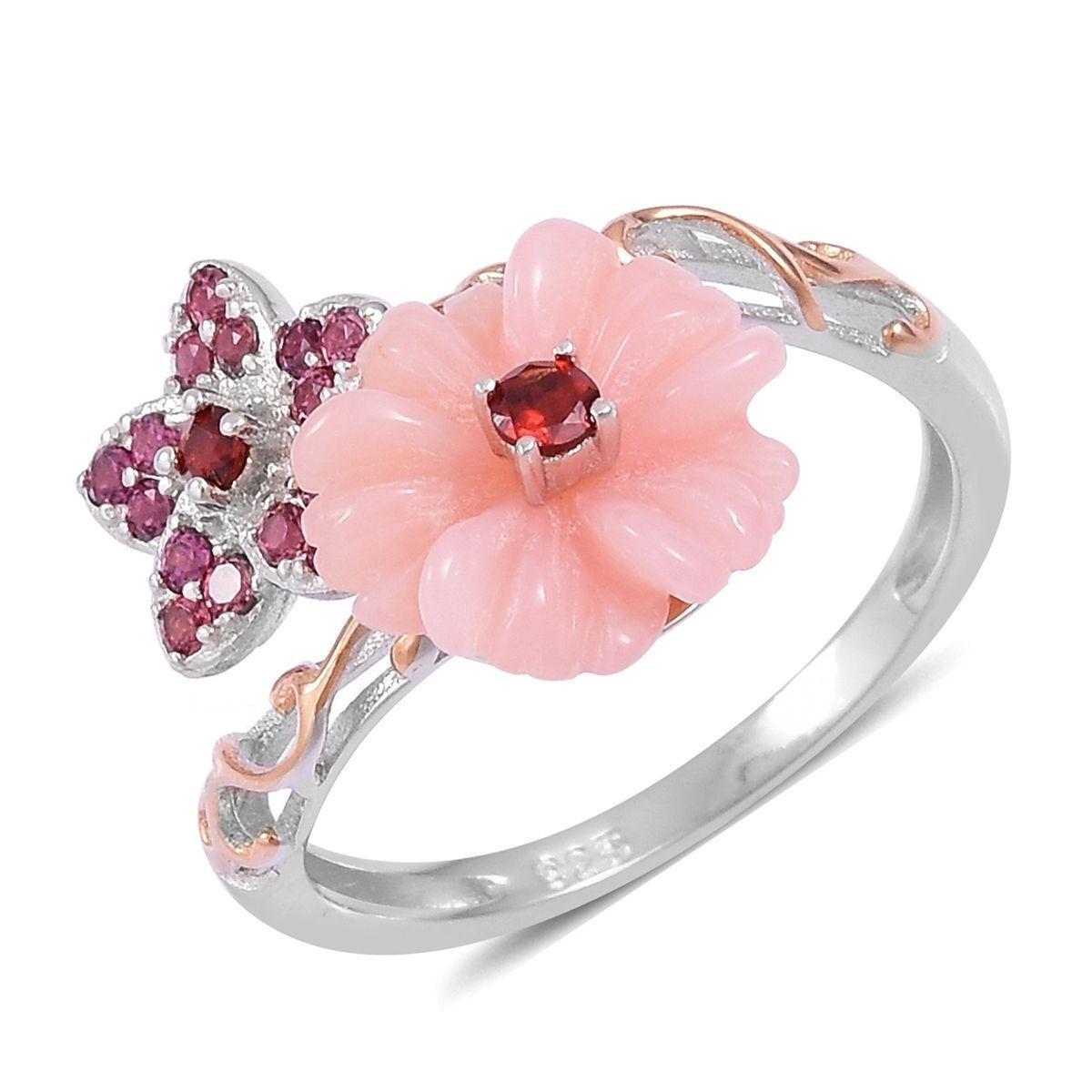 Peruvian Pink Opal, Mozambique Garnet, Orissa Rhodolite Garnet 14K ...