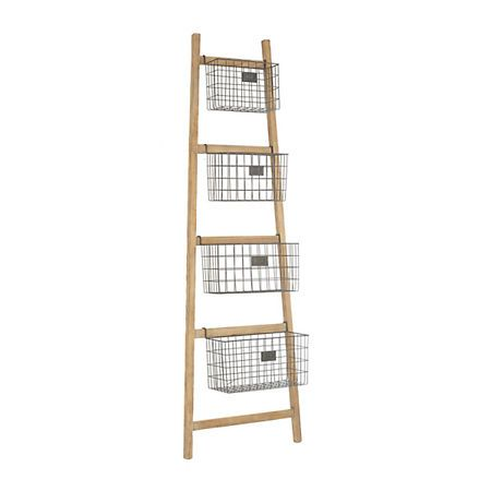 Wood Ladder With 5 Wire Baskets Country House Decor Home Diy Home Decor