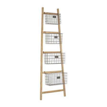 Tapered Wooden Ladder Basket Shelf Basket Shelves Shelf Baskets Storage Storage Baskets