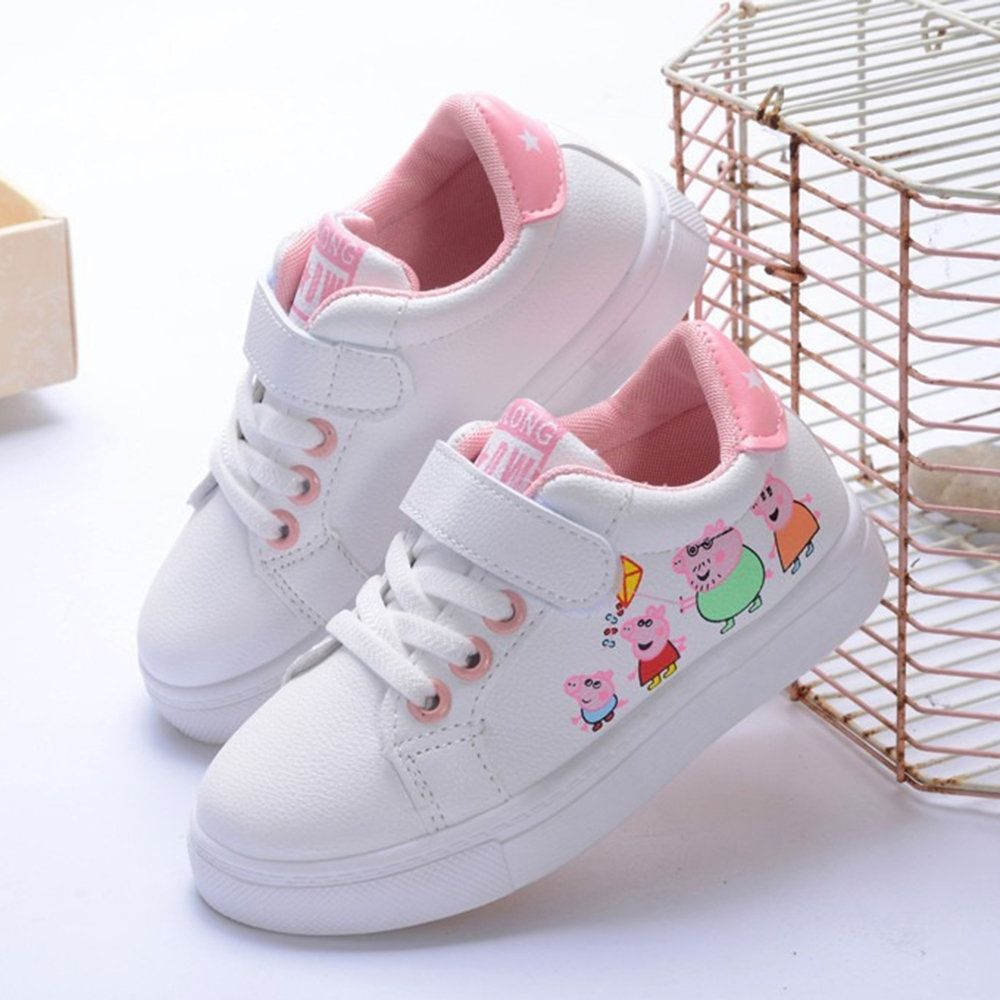 6cc25736f9ae1 US$17.14 - Girls Cartoon Piggy Decor Hook Loop Flat Casual Shoes ...