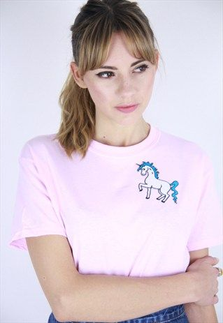 Pastel+pink+Unicorn+Patch+t-shirt
