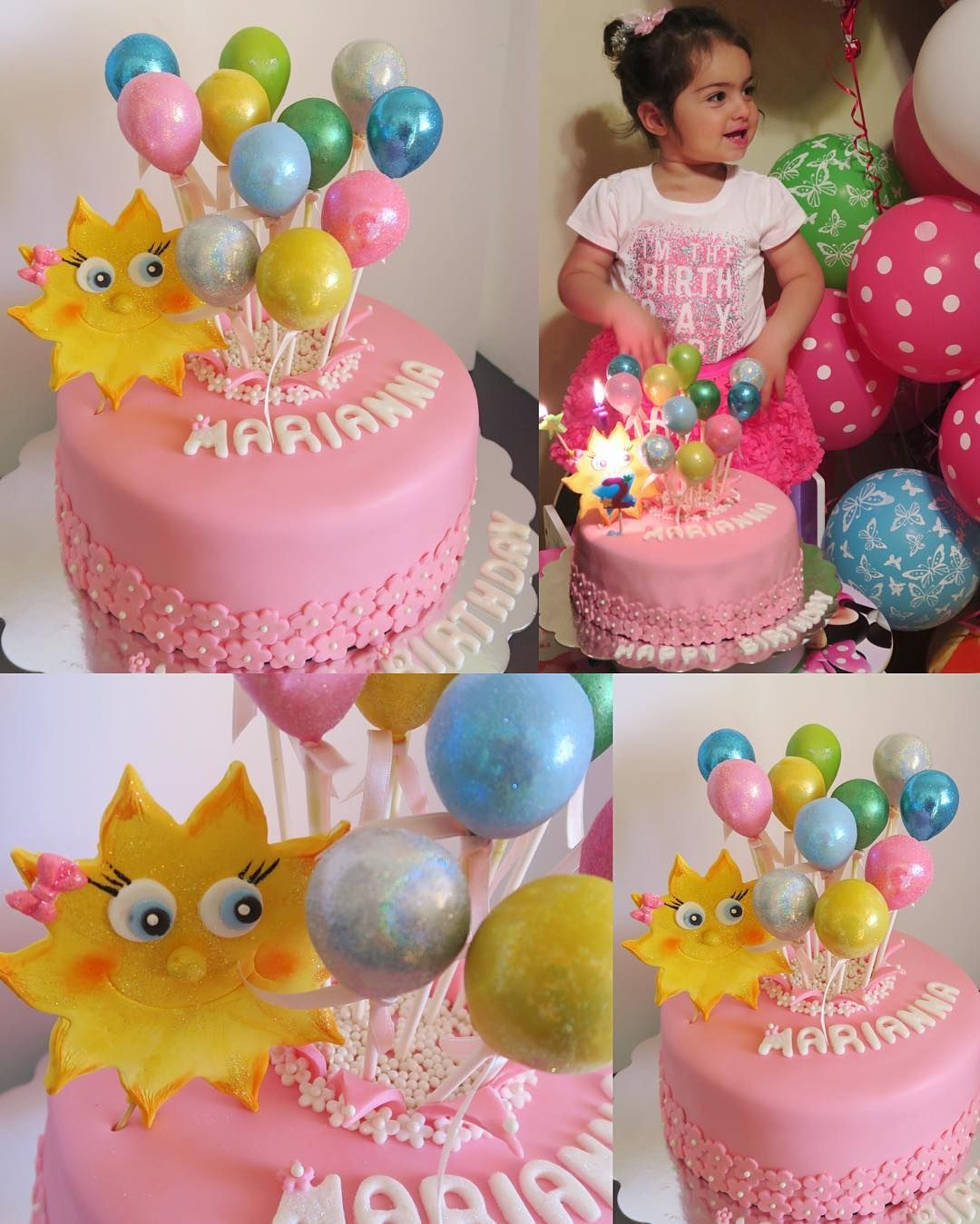 Balloon cake for birthday girl balloons pretty pink