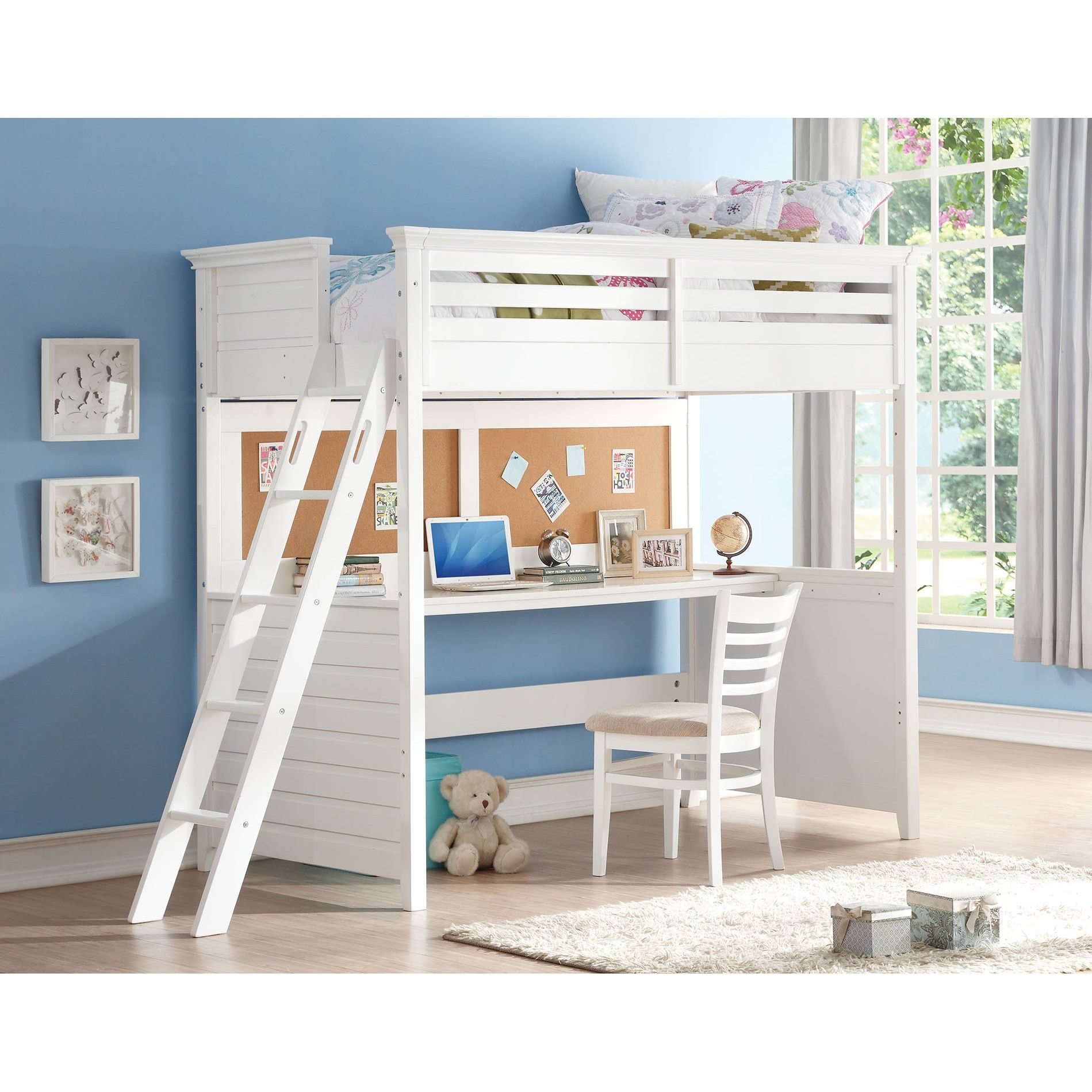Best White Lacey Twin Loft Bed With Desk And Cork Board Twin 640 x 480