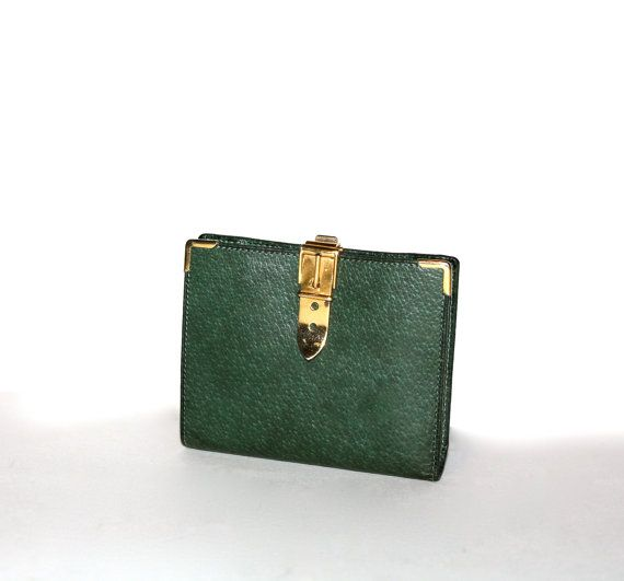 GUCCI Vintage Wallet BiFold Green Brown Leather Belt