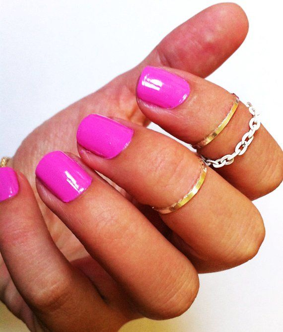 3 Above the Knuckle Rings - 2 silver knuckle rings 1 white chain knuckle ring - set of 3 stackable midi rings