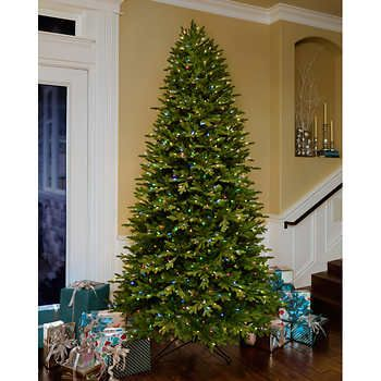 Ge 12 Ft Artificial Aspen Fir Pre Lit Led Easy Light Technology Dual Color Christmas Tree Christmas Tree Slim Christmas Tree Pre Lit Christmas Tree