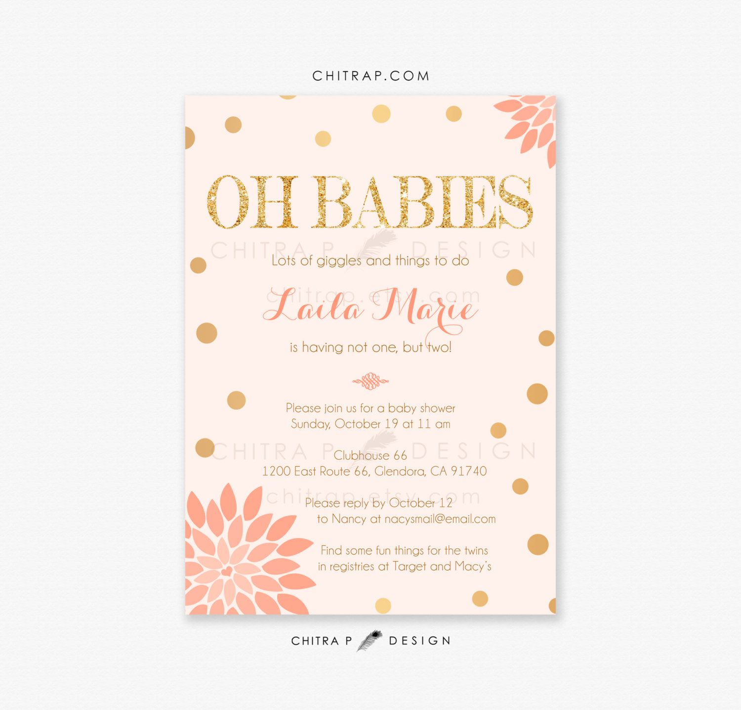 Twin Girls Baby Shower Invitations - Printed, Blush Pink Gold ...