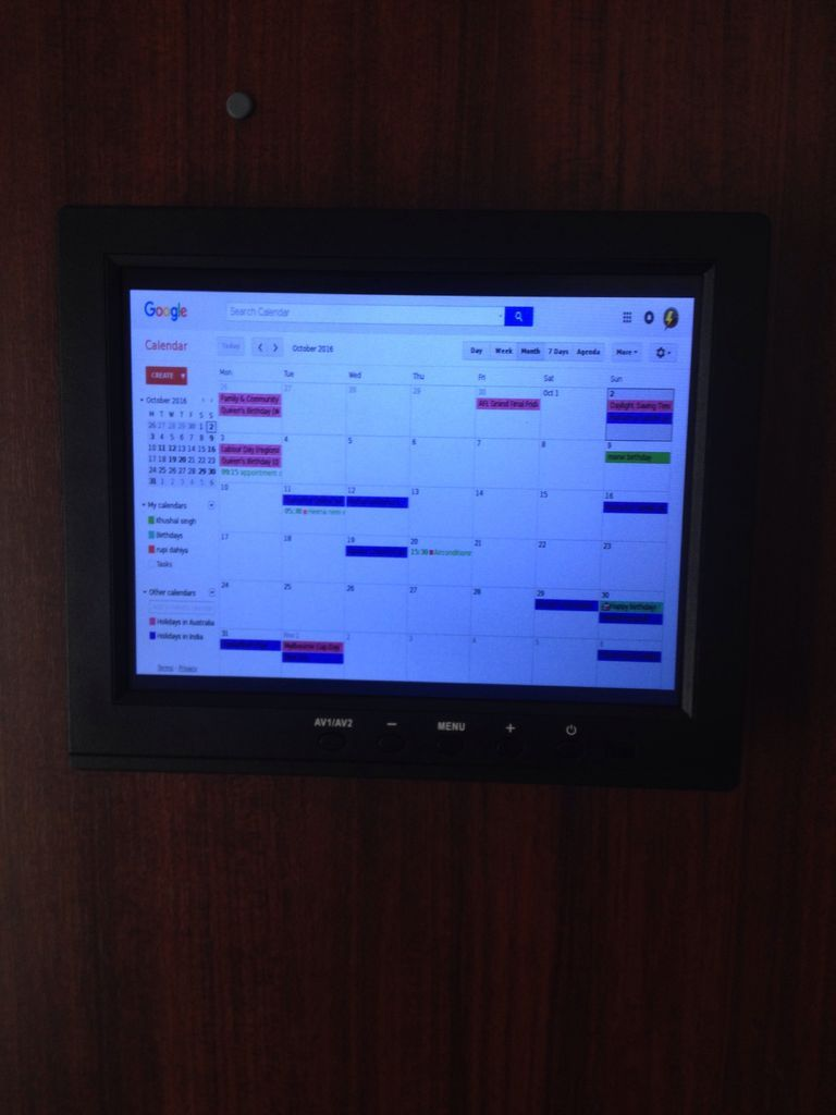 raspberry pi wall mounted google calendar arduino pi pinterest