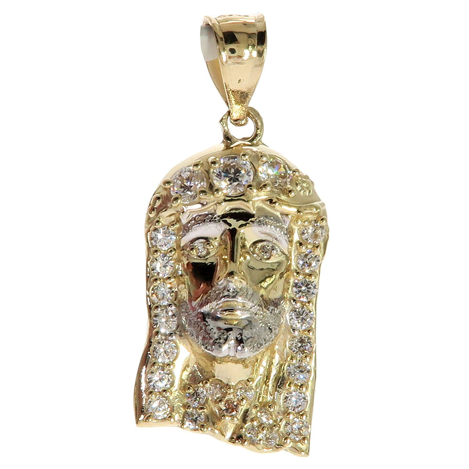Cz genuine stamped authentic k yellow gold charm pendant hip hop