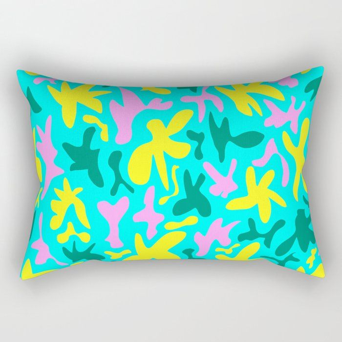 Abstract cute fanciful quirky playful funny shapes pattern. Colorful cool fanciful stylish retro des Rectangular Pillow by agnieszkazalewska