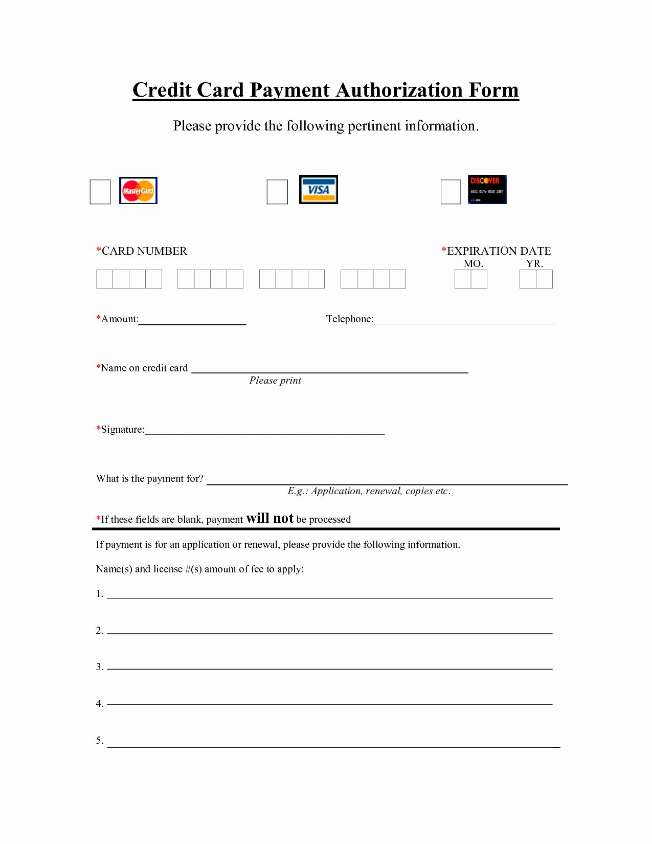 Credit Card Payment Form Template Lovely Template Credit Card