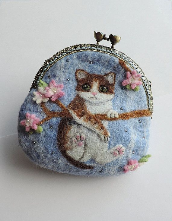 Handmade felted wallet (purse) with cat | Felted bags | Pinterest ...