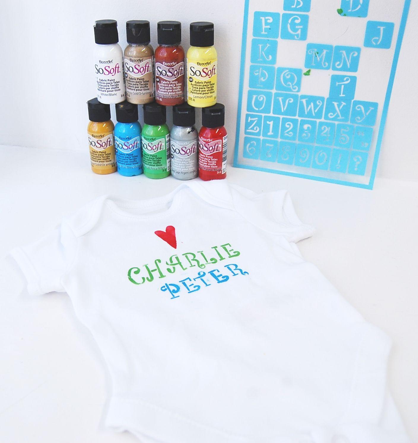 Easy Personalised Customised Baby Clothing Diy Stencilled Baby Grow Using Decoart Alphabet Stencils Decoart Sosoft Fa Alphabet Stencils Stencil Diy Stencils