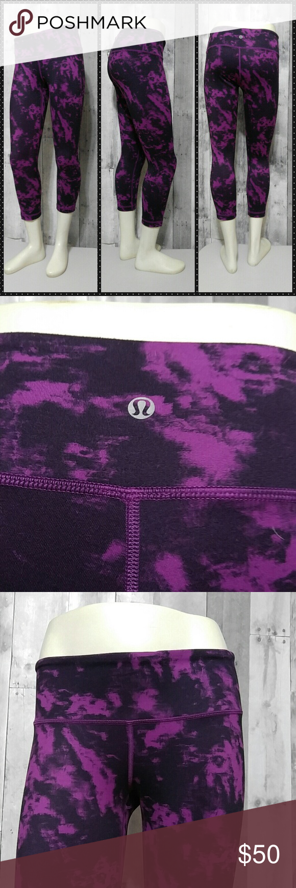 """Lululemon Wunder Under Crop Leggings 6 Purple/ pink Lululemon Wunder Under Crop length leggings Size 6  No rip tag, size dot in stash pocket in the waistband Gently pre owned no stains no holes no pilling  Color is blooming pixie raspberry  They are a pinkish purple color   22"""" inseam 13"""" across waist flat  No trades please lululemon athletica Pants Leggings"""