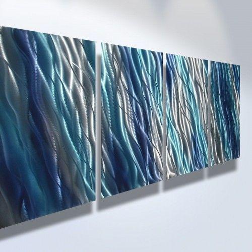 Abstract metal art wall modern decor sculpture blue also office home horizontal vertical rh pinterest