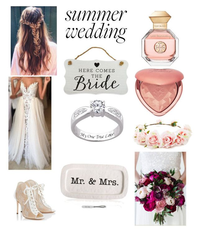 """""""Summer Wedding: The Bride 👰"""" by sunnyloveday99 on Polyvore featuring Tory Burch, Too Faced Cosmetics, Forever 21, Jimmy Choo, New View and Mud Pie"""