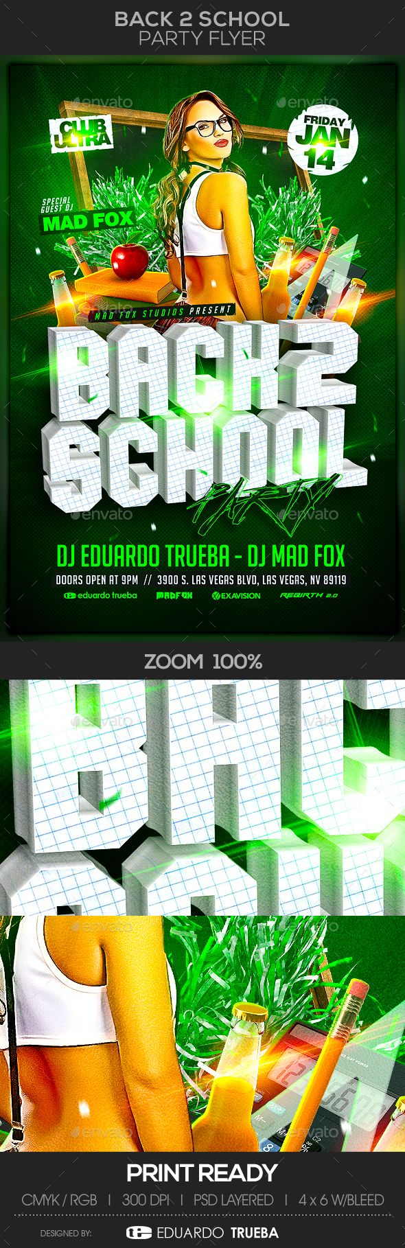 Back 2 School Party Flyer Template PSD