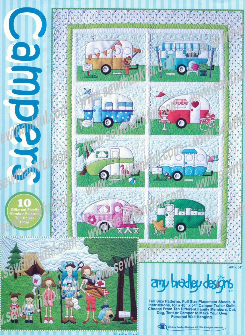 introductory specialcampers quilts quilt pattern  amy bradley designs vintage campers