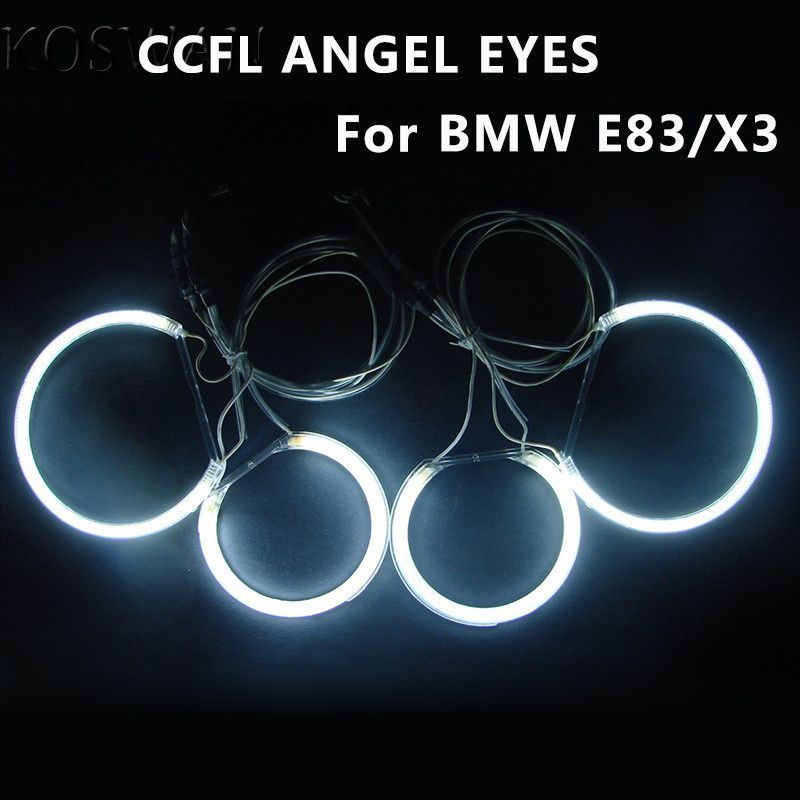 Ultra Bright Ccfl Angel Eye Ring Halo Rings For Bmw E83 X3 E46 Compact Car Headlight 4 Rings 2 Inverters Ccfl Angel Ey Car Headlights Angel Eyes Compact Cars