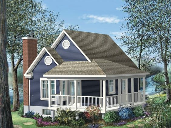072h 0191 Tiny House Plan With Wrap Around Porch Cottage Style