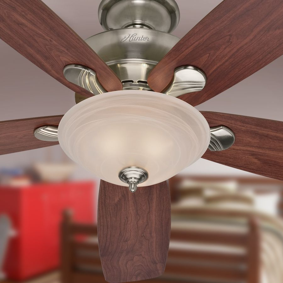 Shop Hunter Regalia 60 In Brushed Nickel Downrod Or Flush Mount Ceiling Fan With Light Kit At Lowes Com With Images Ceiling Fan Ceiling Fan With Light