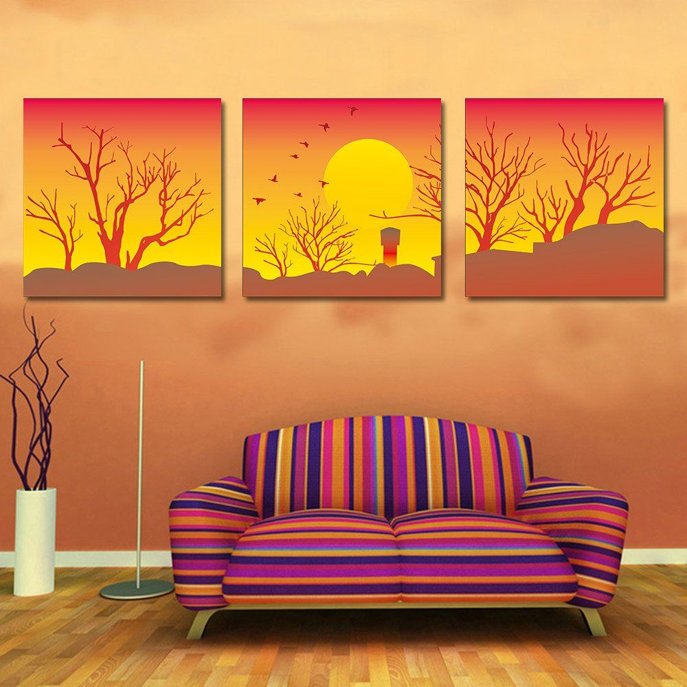Paintings For Living Room Wall Canvas Printed Sunset Modular Picture Oil Painting Scenery