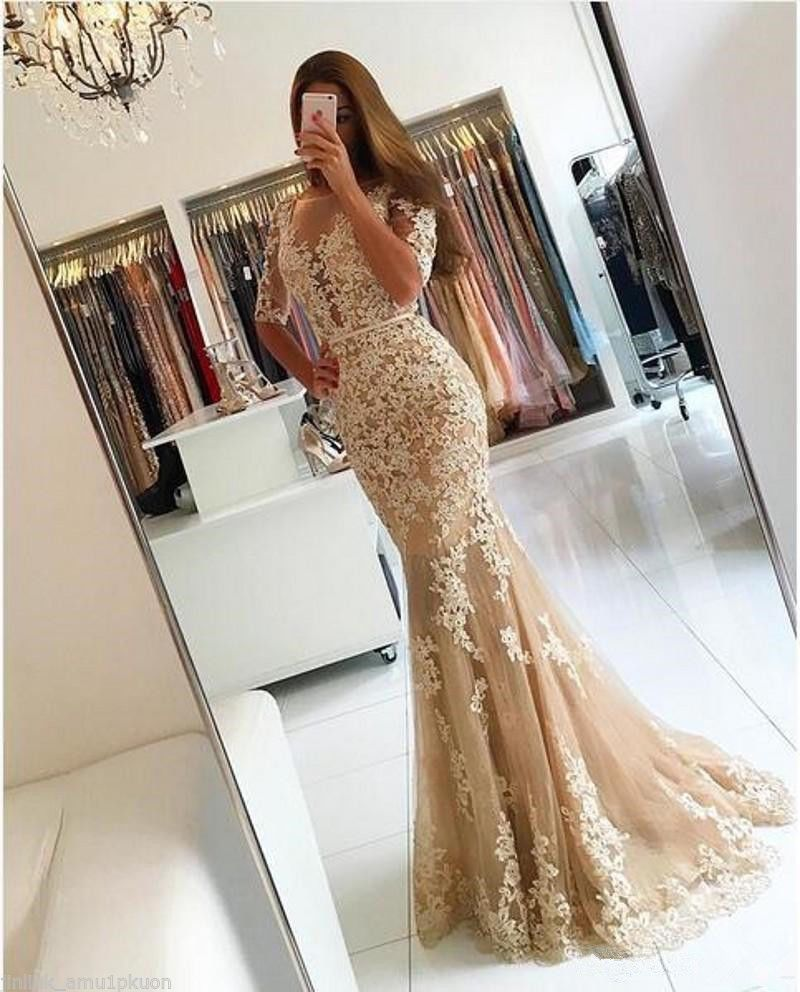 Champagne lace mermaid formal party evening prom gown dress backless