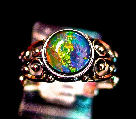 Filigree Opal engagement Ring. Friendship ring.Genuine Australian Natural Opal Triplet Gem.Sterling Silver cast setting.Stamped 925 Sterling