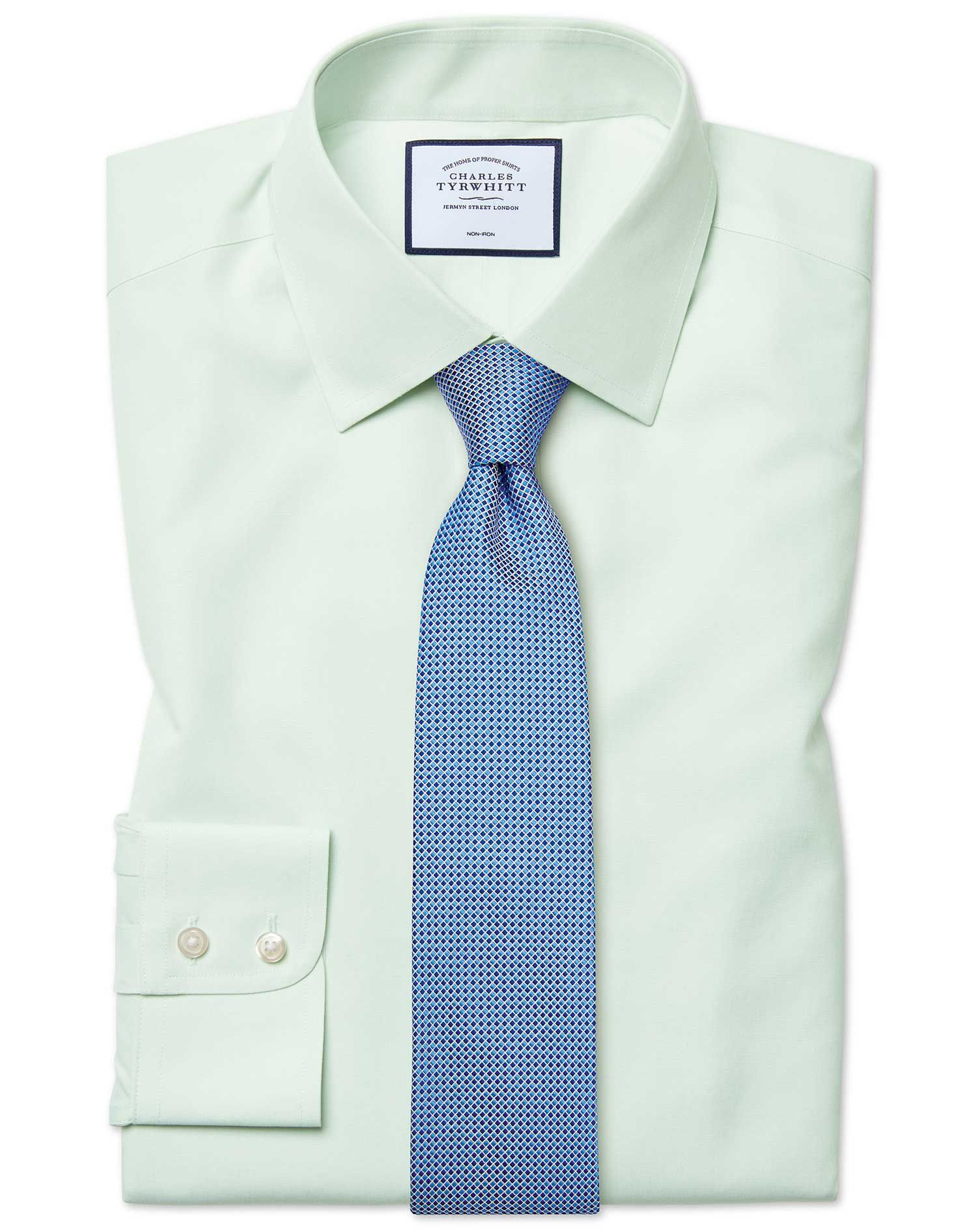 Classic fit non iron poplin green shirt   Sweater shop