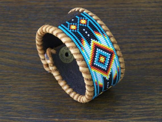 This American Indian Beaded Leather Bracelet With The Clic Cherokee Pattern Is Made Blends Of Fire Colors Southwest