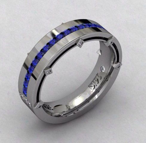 14kt White Gold Mens Wedding Band 8mm with Blue Sapphire and Round