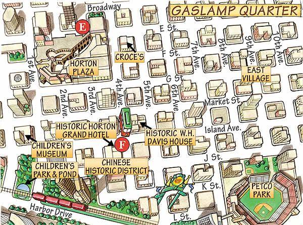 gaslamp quarter map illustration San Diego excursion Pinterest