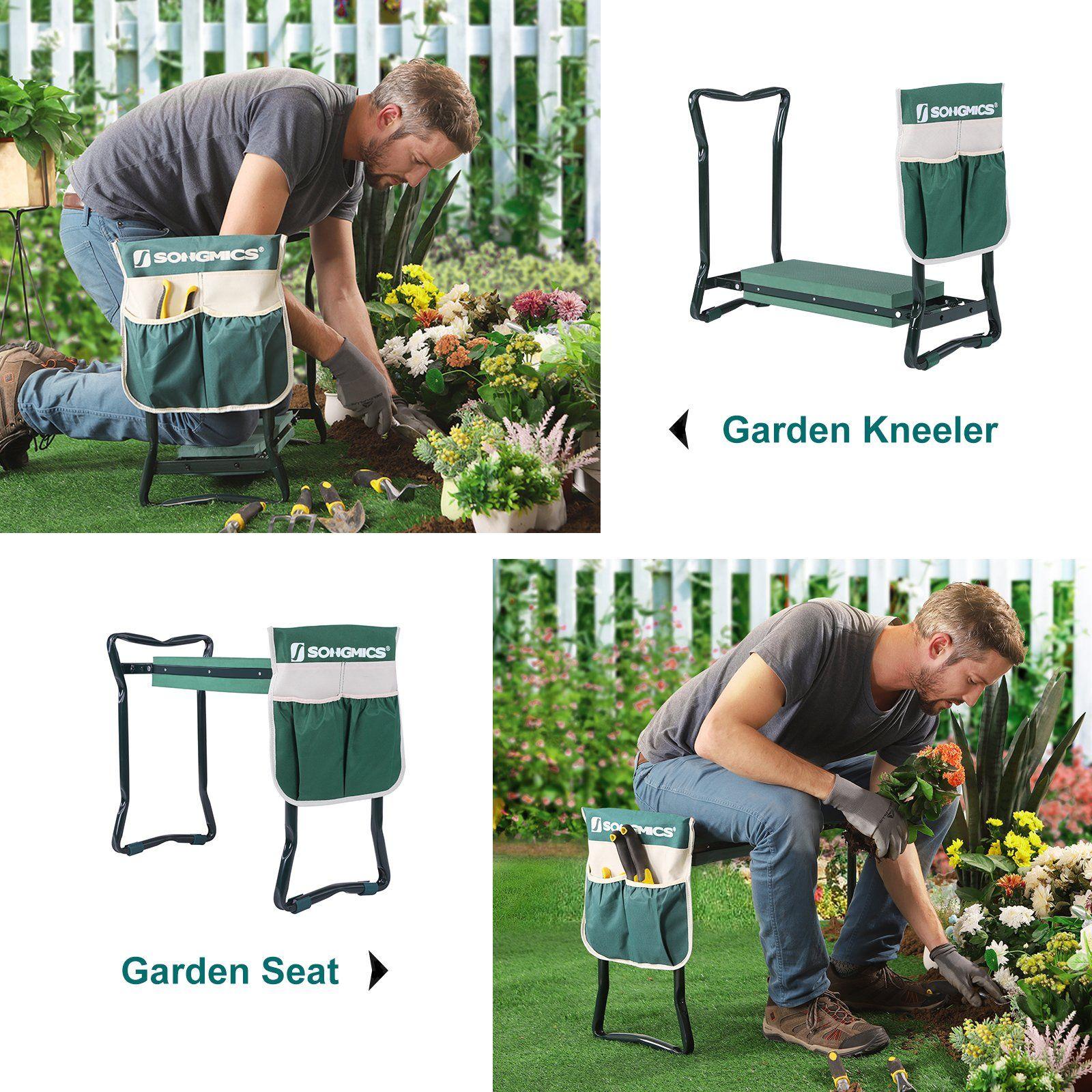 Songmics Folding Garden Kneeler Folding Bench Stool With Kneeling