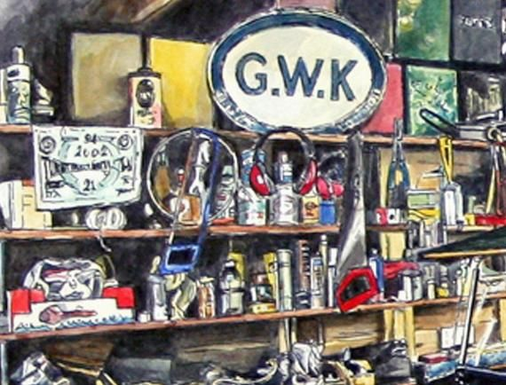 Classic Car, G.W.K. Cars, Vintage Car, Father's Day Gift, Michelin Man, Garage, Man Cave, Gift For Dad, Dog, Car Lover Gift, Mechanic Gift