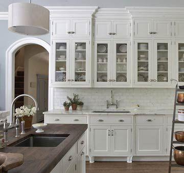 White Kitchen Hardware marble countertop ideas | walnut butcher block, marble tile