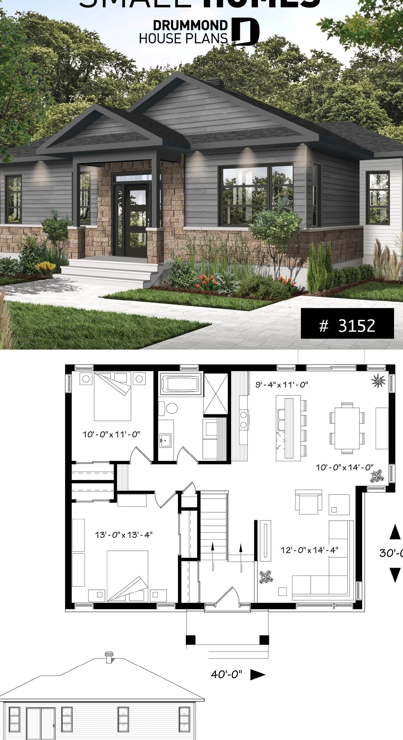 Small Modern Rustic Home 2 Bedroom Rustic Modern Home Plan Split Entry Large Kitchen Island Large Full B Modern House Plans Modern Rustic Homes Rustic House