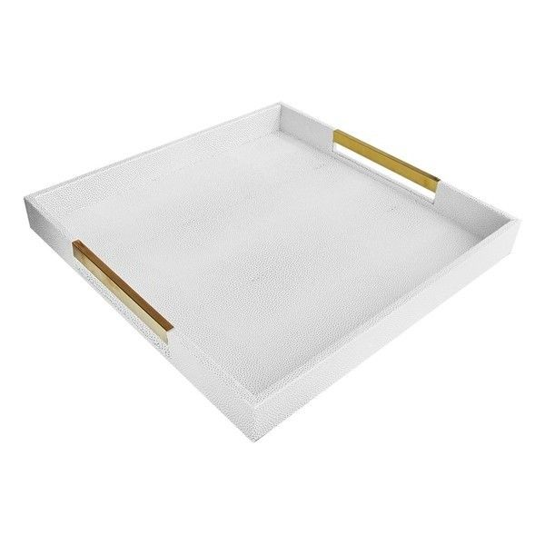 White Decorative Tray American Atelier Goldtone Handle Decorative Tray $49 ❤ Liked On