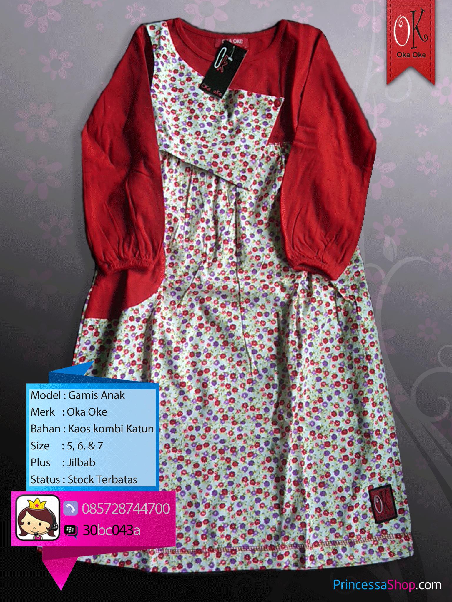 Baju Muslim Anak Plus Jilbab Model Terbaru dari Oka Oke.  d12b8a4ab0