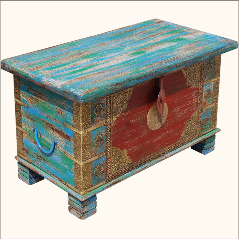 Multi Color Hand Painted Brass Inlay Iron U0026 Wood Storage Box Trunk Coffee  Table