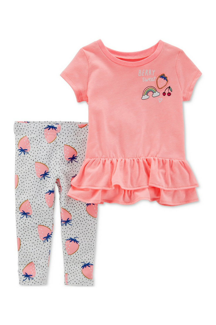d7eb652fa Carter's Toddler Girl spring outfit: 2-piece strawberry leggings and ruffle short  sleeve shirt #ad #carters #springoutfit